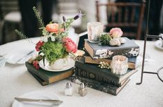 vintage books + teacups with flowers sprouting, whimsical!