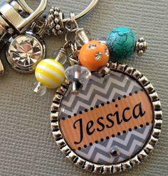 Chevron PERSONALIZED keychain- Monogram- Sweet 16, birthday gift, bridesmaids, channel charm, neon colors via Etsy
