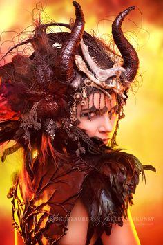 Gothic Costumes of Maskenzauber - Marén Söhnlein - Consort PR Dragon Makeup, Grow In Grace, Theatrical Makeup, How To Make Light, Wild Child, Maleficent, Headdress, Dark Art, Science Fiction
