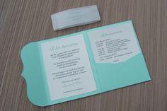 Einladungskarten - Einladung Mini Pocketfold mint - ein Designerstück von Kartenmanufaktur-Arndt bei DaWanda