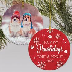 Help the dog lover in your life get into the Pawliday spirit with a cute personalized photo ornament with their sweet pooch #personalizedornaments #christmasornamentideas #petlovergiftideas #Christmasgiftideas