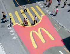 McDonald's Crosswalk Pedestrian crosswalk was decorated to look like McDonald's fries.   #ads #losangeles #largeformatprinting #creative #aretedi
