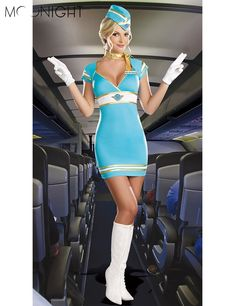 MOONIGHT Women Sexy Stewardess Uniforms Ladies Air Hostess Flight Attendant  Halloween Costumes Party Cosplay Fancy Dress Costume 8194829c6