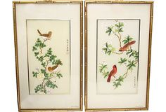"Bird silkscreens with Chinese characters. Signed ""Johnny Lung 1978.""; curated by Shanahan Wildermuth Interiors; 17"" W x 29"" H"
