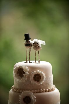 Love Bird 'Bride and Groom' Cake Toppers. $75.00, via Etsy.