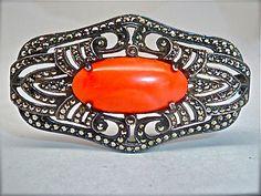 Large-Substantial-935-Sterling-Silver-Coral-Marcasite-Antique-Vintage-Brooch