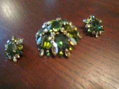 Schreiner, New York Brooch and Earringswith Art Glass Blue/Green, AB and Clear Rhinestones by HeartoftheSouthwest on Etsy