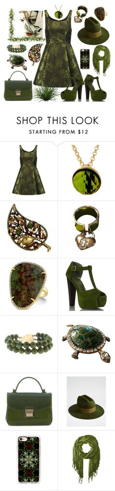"""""""The Green Monster"""" by nightnurse0441 ❤ liked on Polyvore featuring Alice + Olivia, Dolce&Gabbana, Anne Sisteron, Furla, Brixton, Casetify and Love Quotes Scarves"""