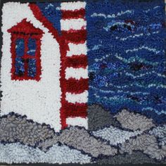 Where is the light by Deanne Fitzpatrick. Lighthouse on the coast by the blue sea. Grey and blue rug hooking scenery.