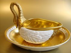 Beautiful and scarce vintage porcelain swan cup and saucer set by Dresden Porcelain, Germany