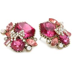 "Betsey Johnson ""Iconic Fabulous Fuchsia"" Crystal Gem Cluster Stud... (£24) ❤ liked on Polyvore featuring jewelry, earrings, accessories, pink, crystal stud earrings, gemstone stud earrings, pink earrings, long crystal earrings and pink stud earrings"