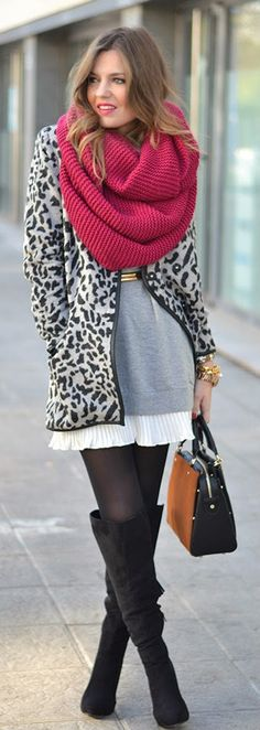 Grey Leopard Printed Coat with Burgundy Scarf and Black Over The Knee Boot Heels Platform