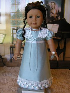 American Girl doll blue silk Regency gown with extras by dolltimes