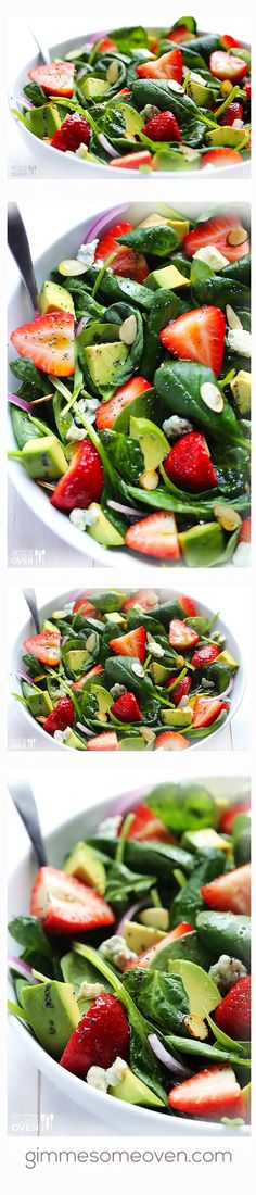 Avocado Strawberry Spinach Salad with Poppyseed Vinaigrette Recipe Avocado - Erdbeer - Spinat Healthy Recipes, Salad Recipes, Cooking Recipes, Salada Light, Clean Eating, Healthy Eating, Spinach Strawberry Salad, Good Food, Yummy Food