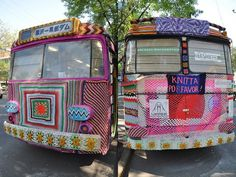 Amethyst The Magic Bus by Samonberry Samonberry is the creator of the Amethyst the Magic Bus who learned his craft at the Old-world school. Yarn Bombing, Old World, Diaper Bag, Transportation, Graffiti, Old Things, Cool Stuff, Knitting, Crafts