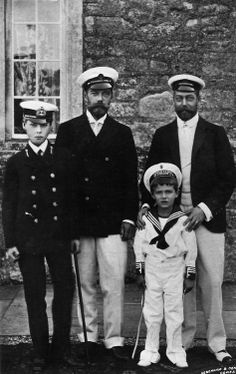 Nicky and Georgie with their sons, and heirs, Tsarevich Alexei Nikolaevich and Prince Edward of Wales.