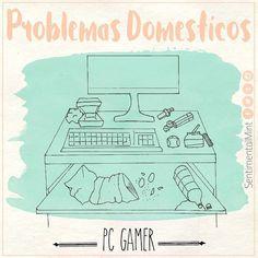 Cuando tu chico es Gamer... El escritorio es siempre el lugar más sucio de la casa.  #gamer #escritorio #computadora #pc #desk #suciedad #dirty #art #dibujo #ilustracion #cute #draw #chibi #kawaii #meme #sketch #juegos #SentimentalMint #problemas #domestico #casa