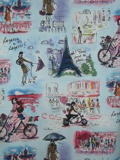 Who's That Girl Print Pure Cotton Fabric in Sky Blue--One Yard. $9.98, via Etsy.