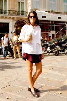 Loafer, shirt and skirt.