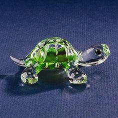 Small Green Turtle Glass Figurine w/ Swarovski Elements