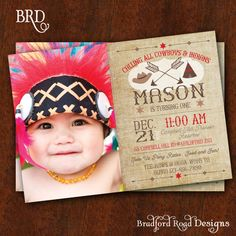 Cowboys and Indians Invitation Pow Wow Western Birthday Customizable Photo Invitation 5x7 Printable Western Party Tee Pee Indian Princess by BradfordRoadDesigns on Etsy