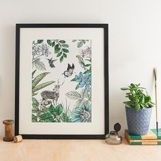 Part of the Sri Lankan Flora and Fauna collection, this elegant art print is originally hand illustrated with pen and watercolour. Featuring a deer, hummingbirds and butterflies, this print is perfect for bringing a touch of nature into the home. Gifts For Nature Lovers, Pen And Watercolor, Hand Illustration, Wildlife Art, Botanical Art, Creative Photography, Fine Art Paper, Giclee Print, Deer