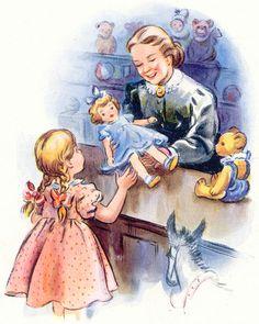 Priscilla, Vintage Mother updated their cover photo. Vintage Books, Vintage Cards, Vintage Postcards, Images Vintage, Vintage Pictures, Little Doll, Pretty Dolls, Vintage Children, Illustrations Posters