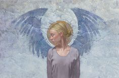 """Angel Unaware by James Christensen  """"  This unassuming woman has been endowed with wings and grace with such force that even the invisible has left its shadow on stone. And she's not sure what just happened... """"She remains humble and is probably unaware of what she has done. Her service and kindness just seemed like the right thing to do."""""""