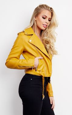Rozy Faux Leather Biker Jacket in Mustard by Frontrow Limited