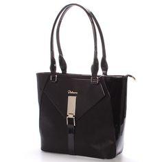 cde40ef3ba  novinka  Delami Elegantní polo-lakovaná dámská kabelka v luxusní černé  barvě. Kabelka