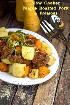 Slow Cooker Maple Roasted Pork with Potatoes   bakeatmidnite.com } #CrockPot #SlowCooker #RoastPork #PorkStew