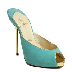 Christian Louboutin Turquoise Suede with Gold Heel