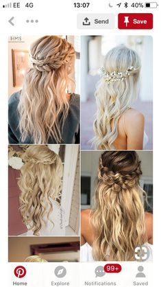 Half up half down hairstyles have been around forever and never gone out of style. Get inspired with these gorgeous bridal hair ideas for your wedding day. Wedding Curls, Romantic Wedding Hair, Long Hair Wedding Styles, Wedding Hair Down, Hair Comb Wedding, Long Hair Styles, Wedding Bride, Wedding Dresses, Wedding Hairstyles Half Up Half Down