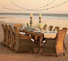 I'd like to be here...where ever this may be.  Saybrook All-Weather Wicker Rectangular Fixed Dining Table  Chair Set #potterybarn