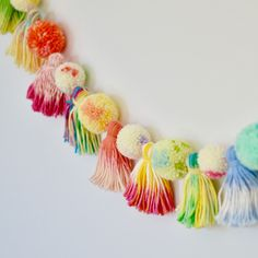 The Kaleidoscope Garland is in the shop... all tassels have been either dip-dyed, over-dyed, or reverse-dyed, for a one-of-a-kind look!