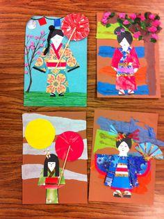 Drip, Drip, Splatter Splash Use bits of origami paper for kimono