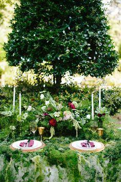 forest wedding inspiration - photo by Chelsea Anderson Photography http://ruffledblog.com/crimson-bohemian-wedding-inspiration