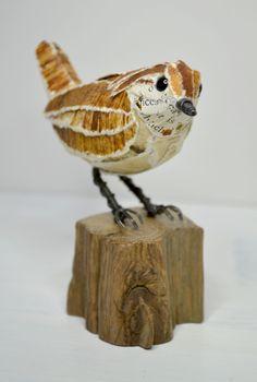Wren paper sculpture by Suzanne Breakwell www.suzannebreakwell.com