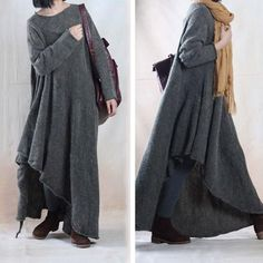 Autumn Winter Soft Loose Sweater Dress Gown