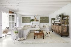 See our favorite white living rooms and browse through our favorite white living room pictures, including white living room designs, white decor and more. There's something for every style here! Rustic Room, Decor, White Shiplap Wall, Living Room Pictures, Flooring, Painted Floors, Living Room White, White Living, White Decor