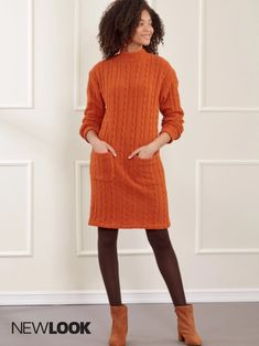 Misses' sweater dresses with neckline & pocket options. | NewLook Patterns #newlookpatterns #sewingpatterns #dresspatterns #sweaterpatterns #sweaterdresspatterns #fallfashion #fallsewing #fashionsewing #womenssewingpatterns