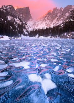 Iced Dream The water that is iced over looks like pink, white and light blue mosaic tiles... Stunning!!