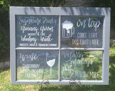 Bar menu sign on a vintage window for a rustic wedding @littlechalkshop