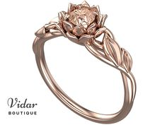 Flower Engagement Ring,Unique Engagement Ring,Gemstone Engagement Ring,Leaves,Lotus,Morganite,Solitaire Ring,floral,swirl,White gold Ring by VidarBoutique on Etsy https://www.etsy.com/listing/500453451/flower-engagement-ringunique-engagement