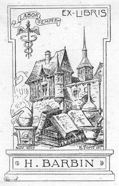 Ex Libris: H. Barbin. Labor Semper / Always Labor. (Nov, 1907. Henri Popot, Del, Artist, France)