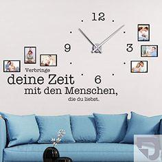 DESIGNSCAPE® Wandtattoo Uhr Verbringe deine Zeit mit den Menschen, die du liebst, Wanduhr mit Fotorahmen, Bilderrahmen 198 x 113 cm (B x H) silber inkl. Uhrwerk silber, Umlauf 90cm DW813078-L-F25-SI