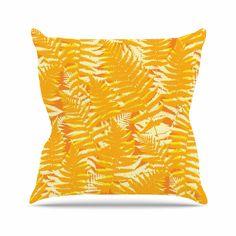 """Jacqueline Milton """"Fun Fern - Citrus"""" Orange Gold Outdoor Throw Pillow"""