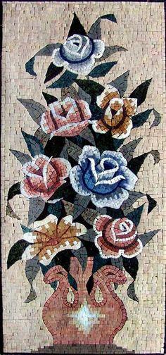 Mosaico de arreglo de flor rosa