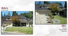 Before & after of a Gerard Stone Coated Steel Roof. Profile: Canyon Shake. Color: Charcoal.