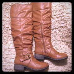 """NEW. Size 9. Cognac over the knee boots Cognac size 9. Over-the-knee boot with a ruched detail, buckle strap at ankle and low block heel. Faux leather. Heel is 1.5"""". Calf circumference is 17.5"""". Never worn. Brand new in the original box. Shoes Over the Knee Boots"""